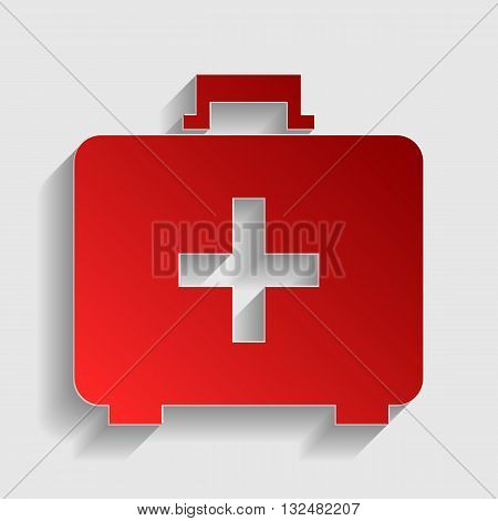 Medical First aid box sign. Red paper style icon with shadow on gray.