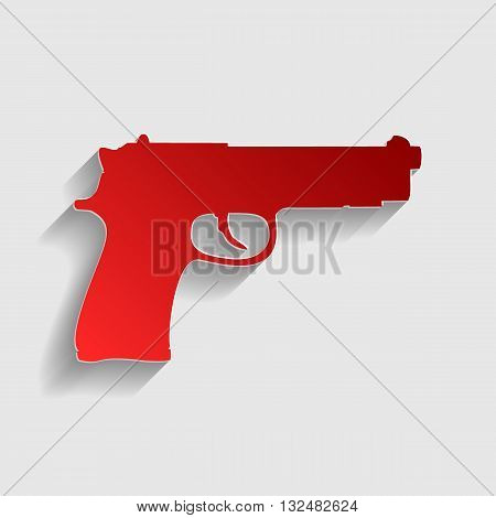Gun sign illustration. Red paper style icon with shadow on gray.