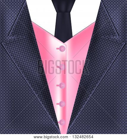 abstract gray male costume with pink vest and dark tie