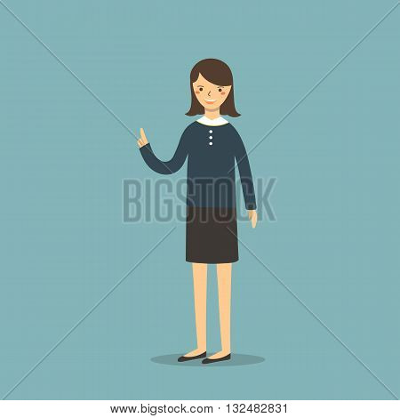 Cute flat style business girl in office dress skirt. Business woman character icon