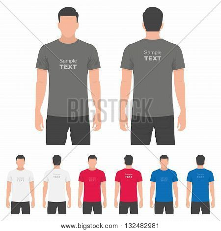 T-shirt men back and front. Men body silhouette