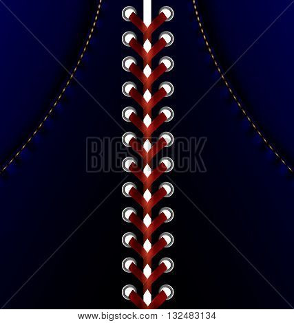 abstract blue dress and large red lacing