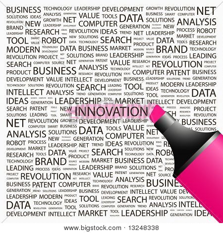 INNOVATION. Highlighter over background with different association terms. Vector illustration.