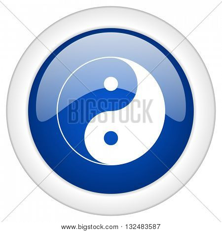 ying yang icon, circle blue glossy internet button, web and mobile app illustration