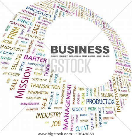 BUSINESS. Word collage on white background. Vector illustration with different association terms.