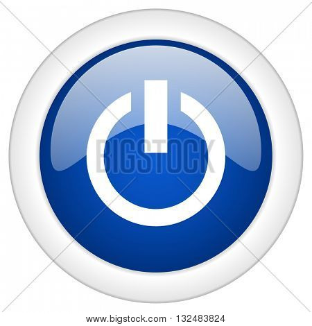 power icon, circle blue glossy internet button, web and mobile app illustration