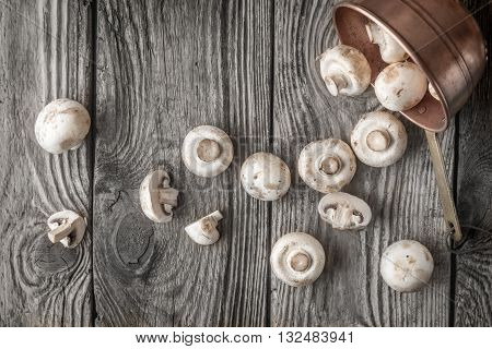 Champignon on the copper pot on the wooden table top view