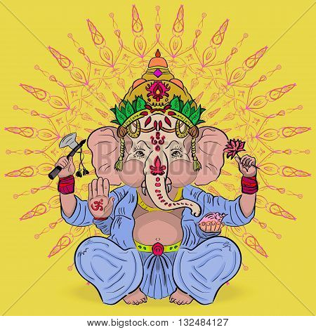 Vector illustration. The mythology of India. Great Lord Ganesha. God of abundance with an elephant head