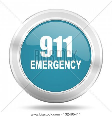 number emergency 911 icon, blue round metallic glossy button, web and mobile app design illustration