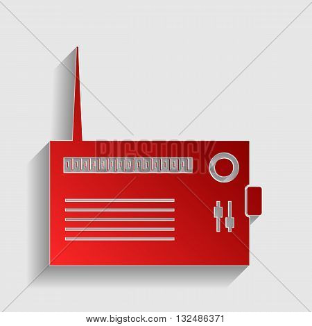 Radio sign illustration. Red paper style icon with shadow on gray.