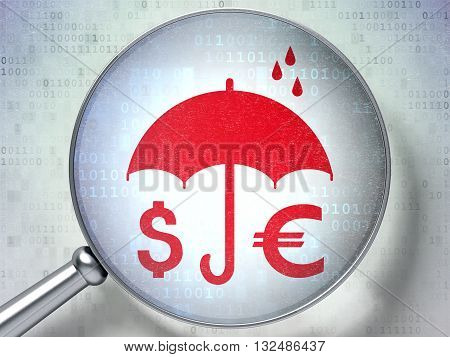 Protection concept: magnifying optical glass with Money And Umbrella icon on digital background, 3D rendering