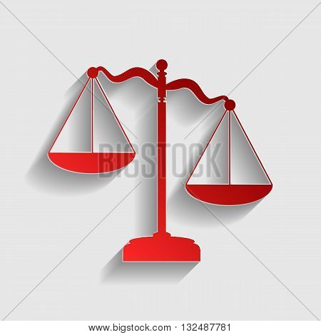 Scales of Justice sign. Red paper style icon with shadow on gray.