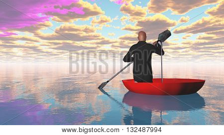 man rowing oars in red upturned umbrella on water 3d Render