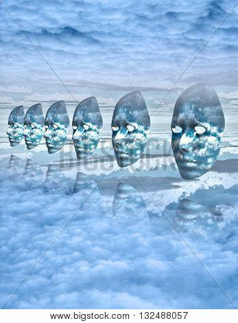 Faces float amongst clouds 3d Render
