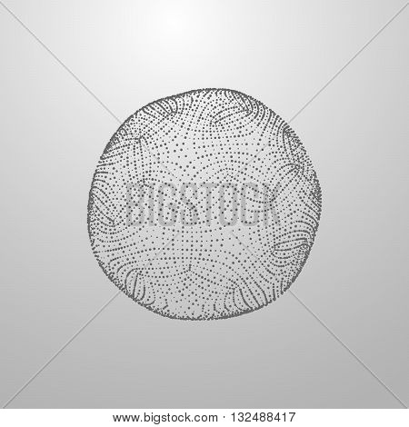 3D sphere with with particles Futuristic vector illustration. HUD element. Biotechnology concept
