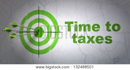 Success finance concept: arrows hitting the center of target, Green Time To Taxes on wall background, 3D rendering