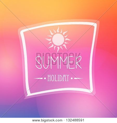 text summer holiday with white sun in frame over orange pink background, flat design poster, vector