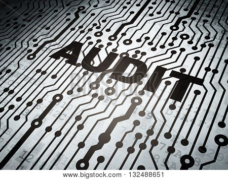 Business concept: circuit board with  word Audit, 3D rendering