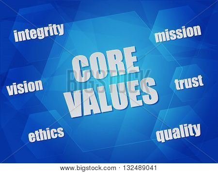 core values - quality, mission, ethics, integrity, vision, trust - business concept words in hexagons over blue background, flat design, vector