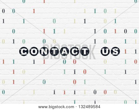 Business concept: Painted black text Contact us on White Brick wall background with Binary Code