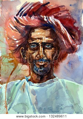 Watercolor illustration. Portrait of an old man with blue eyes in a turban. en face