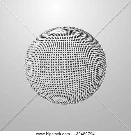 vector illustration of a halftone sphere. halftone globe design. global communication concept. science concept. halftone vector technology concept