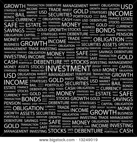 INVESTMENT. Word collage on black background. Illustration with different association terms.