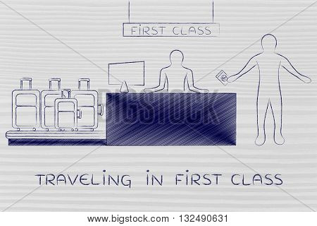 Traveler At Bag Drop Airport Check-in, Traveling In First Class