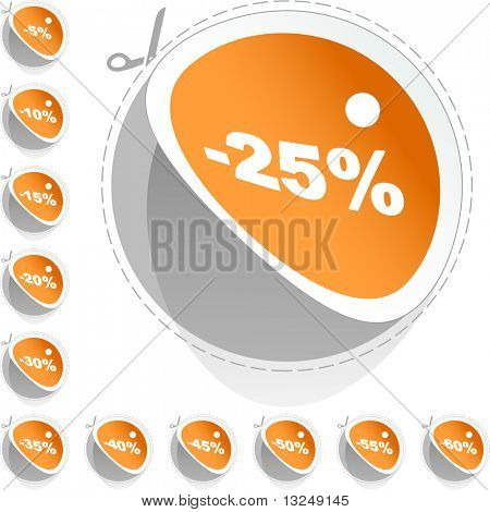 Discount sticker templates with different percentages