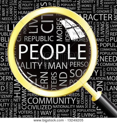 PEOPLE. Magnifying glass over seamless background with different association terms. Vector illustration.