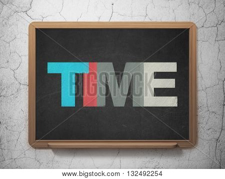 Timeline concept: Painted multicolor text Time on School board background, 3D Rendering