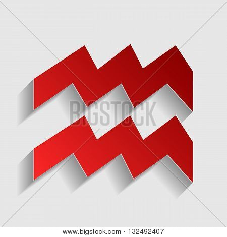 Aquarius sign illustration. Red paper style icon with shadow on gray.