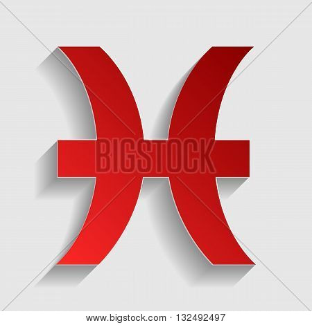 Pisces sign illustration. Red paper style icon with shadow on gray.