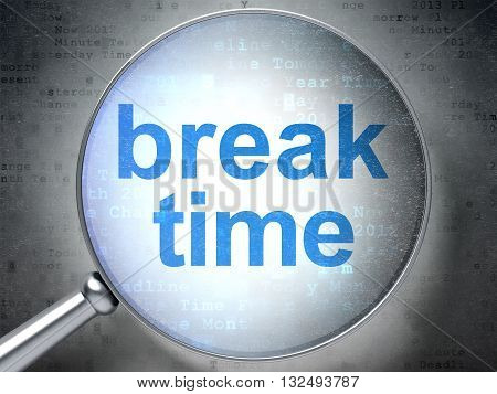 Time concept: magnifying optical glass with words Break Time on digital background, 3D rendering