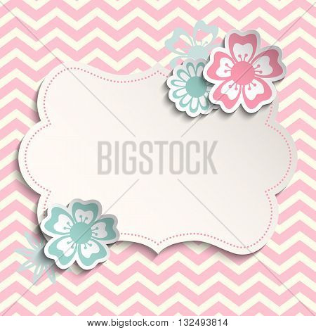Romantic, shabby chic template with flowers on pink chevron background, can be used as valentine or wedding motive, vector illustration, eps 10 with transparency