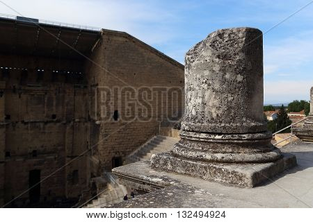 ORANGE, FRANCE - MAY 23, 2015: This is ruins of column of the ancient Roman Theatre.