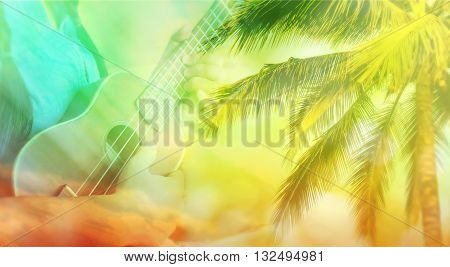 Blurred Background Summer Soft Relax Mood For Background, Hand Play Ukulele With Coconut Tree On War
