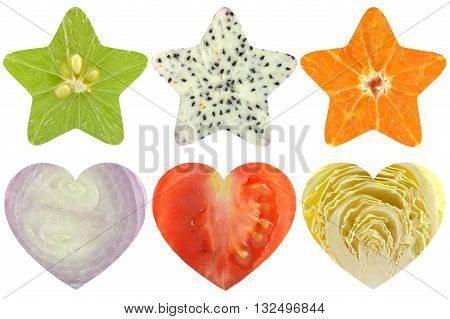 Star shaped and heart shaped fruit and vegetable on white background