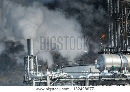 Heavy Industrial Fog From Exhaust Tube In Petrochemical And Power Industry Estate