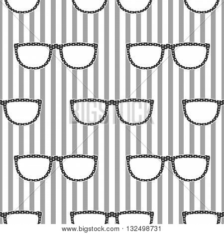 Pop sunglasses retro seamless vector pattern in grey and white colors. Hipster eyewear on grey and white stripe background.
