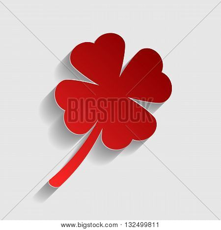 Leaf clover sign. Red paper style icon with shadow on gray.