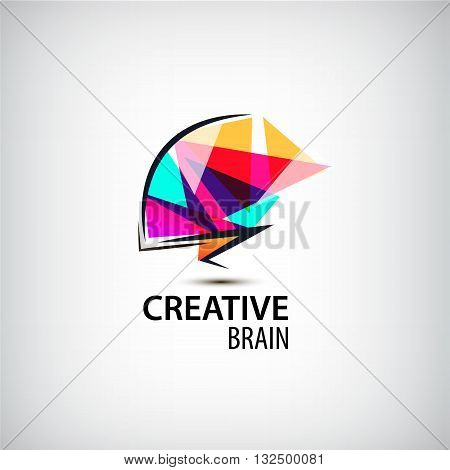 Vector creative mind logo, brain logo dentity. Brainstorming, technologies logo, think logo
