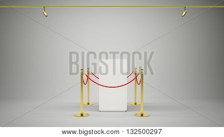 Golden fence, stanchion with red barrier rope, on gradient gray background. 3D illustration