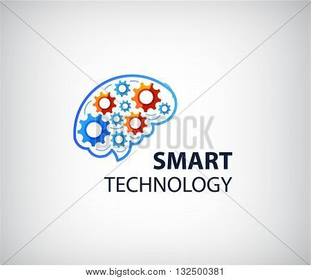 Vector logo icon with brain and gear cogs. Design concept for business solutions, high technology, development, invention and innovation, creativity, scientific themes, planning