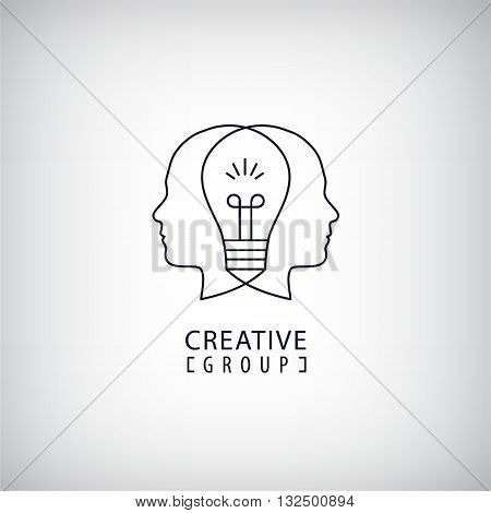 Vector creative mind logo, creative group logo, two heads and light bulb between illustration. Thinking, creating new ideas concept. Outline logo