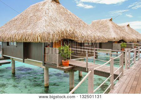 Three overwater bungalows in Moorea French Polynesia