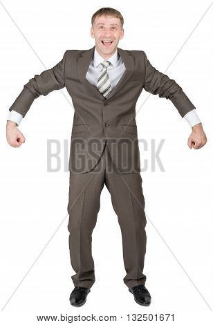Happy businessman in suit ready to work isolated on white background