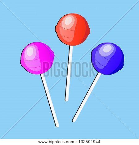 Lollipop candy, icon, flat design. vector illustration
