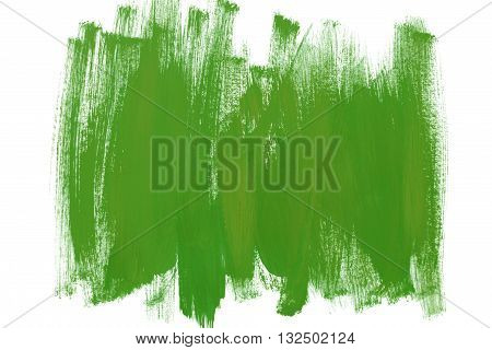 Green paint brush strokes on white as a background