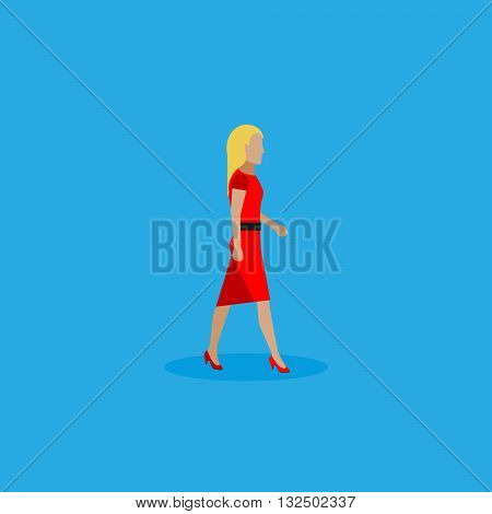 businesswoman. vector flat  illustration of businesswoman or politician wearingred dress. walking woman